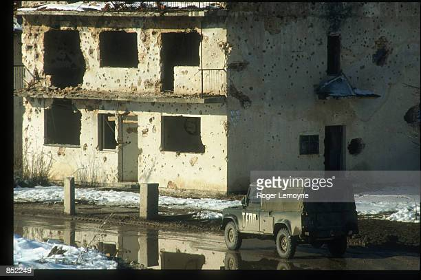 The United Nations Peacekeeping Force patrols Sarajevo March 5, 1996 in Sarajevo, Bosnia-Herzegovina. The city is reopening its businesses, repairing...