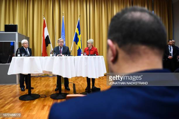 The United Nations' Secretary General Antonio Guterres holds a press conference together with Sweden's Minister for Foreign Affairs Margot Wallström...