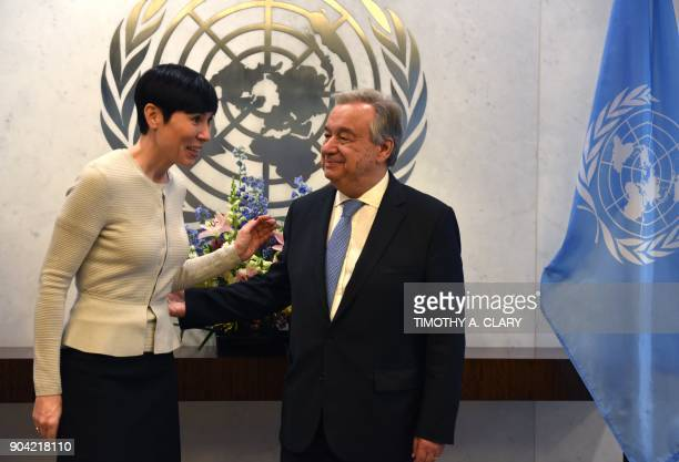 The United Nations SecretaryGeneral Antonio Guterres meets with Ine Eriksen Soreide Minister for Foreign Affairs of Norway at the United Nations on...