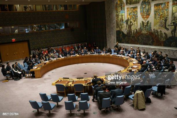 The United Nations Security Council holds an emergency meeting concerning North Korea's nuclear ambitions at the United Nations headquarters November...