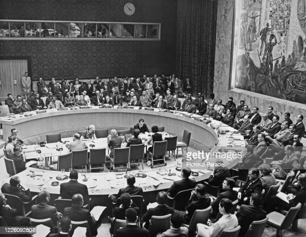 The United Nations Security Council meeting to discuss Portuguese territories, and Apartheid in South Africa, at the Security Council Chamber at UN...