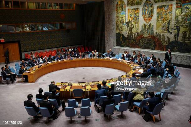 The United Nations Security Council meets at UN headquarters September 17 2018 in New York City The United States called a meeting of the Security...