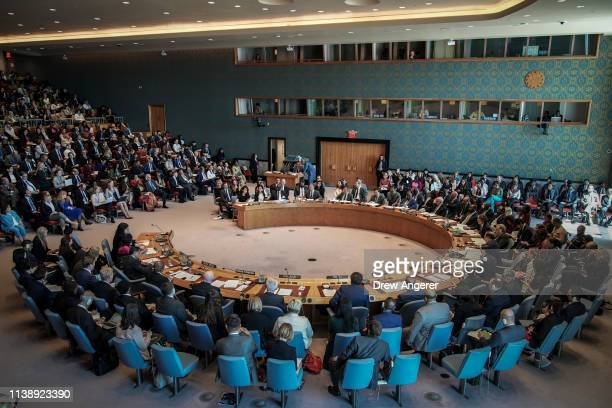 The United Nations Security Council meets at UN headquarters April 23 2019 in New York City Member nations of the Security Council are considering a...