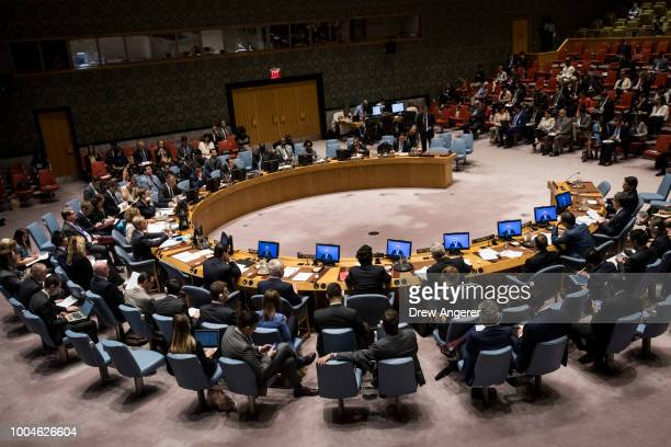 The United Nations Security Council meets at UN Headquarters July 24 2018 in New York City The Security Council discussed the ongoing conflict...