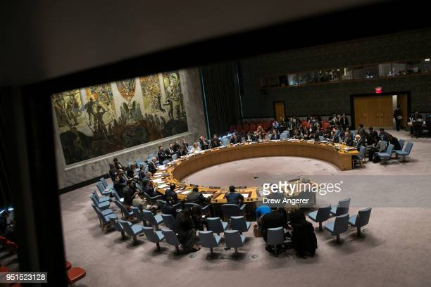 The United Nations Security Council meets concerning the situation in the Middle East at UN headquarters April 26 2018 in New York City Israel...