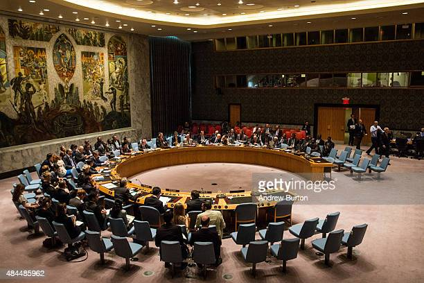 The United Nations Security Council meets on August 19 2015 in New York City The topic of discussion was 'The Palestinian Question' and Jeffrey...
