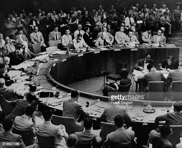 The United Nations Security Council meets regarding the invasion of South Korea by northern Communist forces The Soviet Union's delegation boycotted...