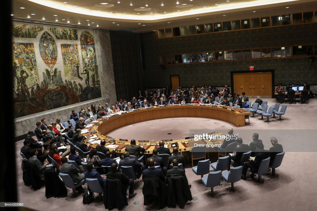 UN Security Council Votes On US And Russian Resolutions After Syria Gas Attack : News Photo
