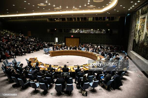 The United Nations Security Council meets to discuss the situation in Venezuela at the United Nations in New York US on Saturday Jan 26 2019...