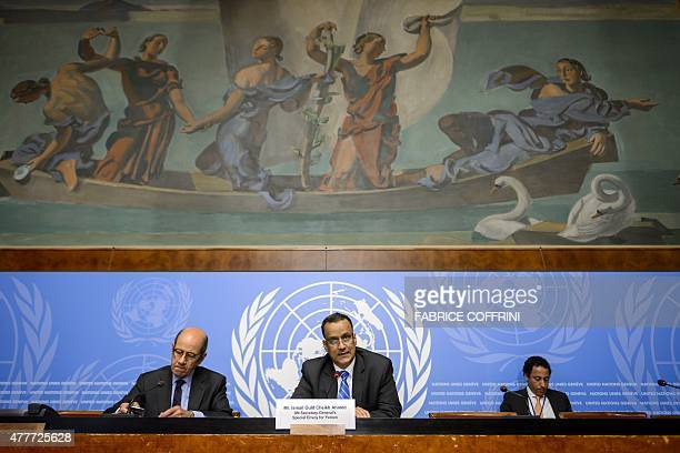 The United Nations Special Envoy of for Yemen Ismail Ould Cheikh Ahmed speaks during a press conference after Yemen peace talks on June 19 2015 at...