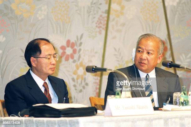The United Nations Transitional Authority in Cambodia special representative Yasushi Akashi and Prince Norodom Sihanouk of Cambodia attend a press...