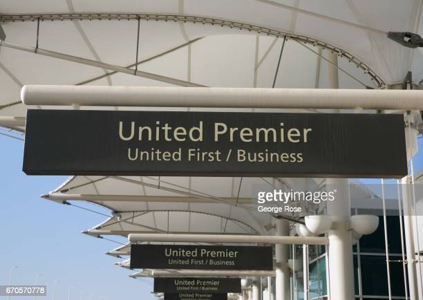 The United Premier curbside checkin area is viewed on April 12 in Denver Colorado Located 25 miles from downtown Denver International Airport a...