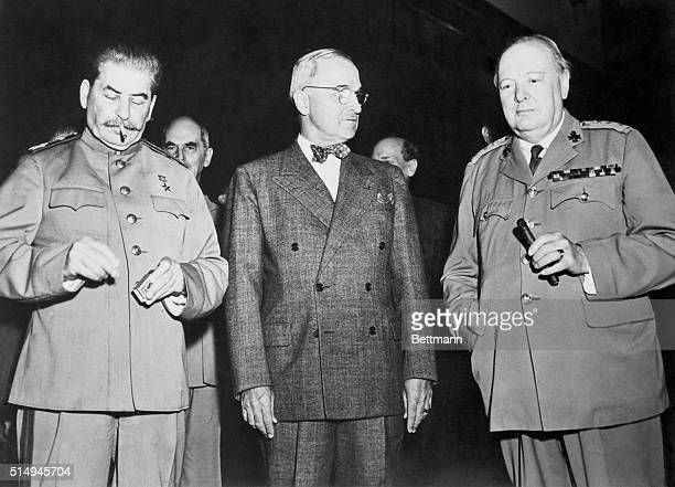 The United Press selected the Potsdam conference as one of the 12 outstanding stories of 1945. Here, Generalissimo Josef Stalin, President Harry S....