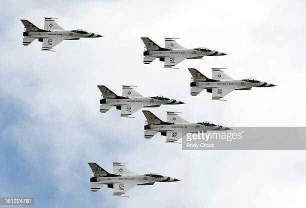 The United States Air Force Thunderbirds during practice maneuvers Tuesday afternoon near Falcon Stadium in Colorado Springs in preparation for the...