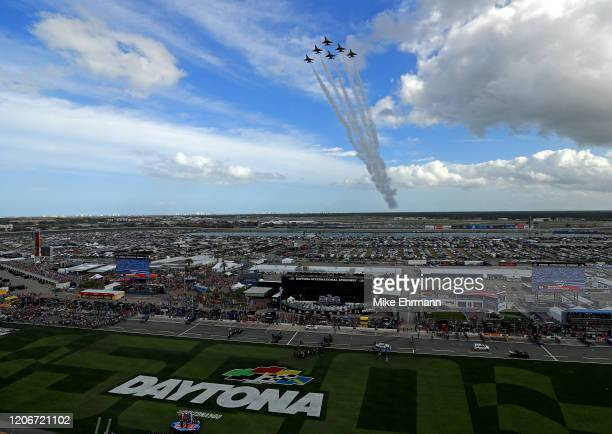 The United States Air Force Thunderbirds perform a flyover during the NASCAR Cup Series 62nd Annual Daytona 500 at Daytona International Speedway on...