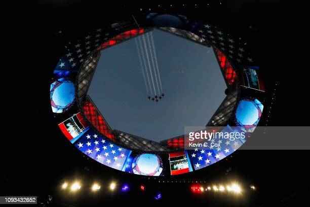 The United States Air Force Thunderbirds perform a flyover prior to kickoff at Super Bowl LIII between the Los Angeles Rams and the New England...