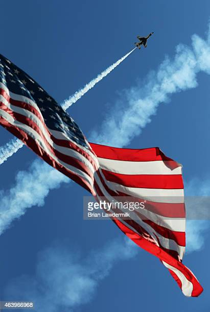 The United States Air Force Thunderbirds perform during practice for the NASCAR XFINITY Series Alert Today Florida 300 at Daytona International...