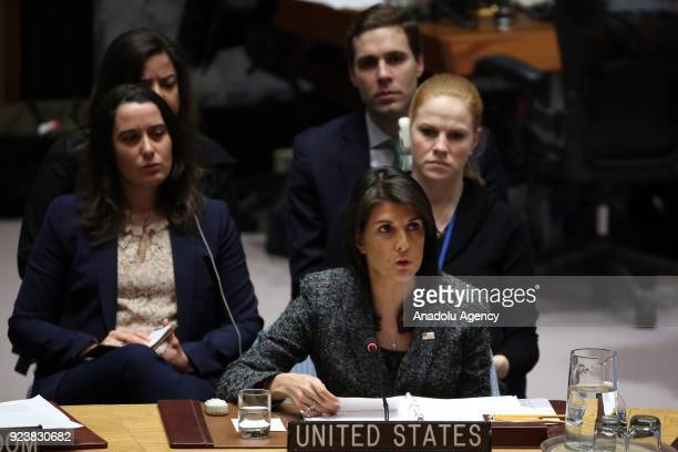 The United States Ambassador to the UN Nikki Haley gives a speech after voting on Sweden's Syria ceasefire resolution during a Security Council...