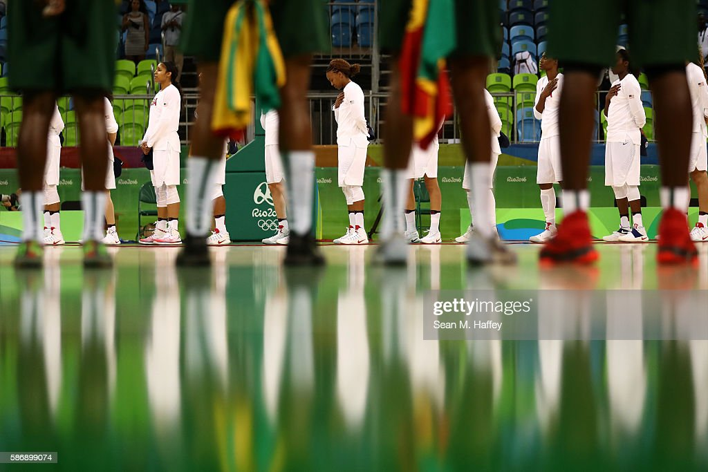 The United States and Senegal line up prior to a Women's Preliminary Round basketball game between the United States and Senegal at Carioca Arena 1 on August 7, 2016 in Rio de Janeiro, Brazil.