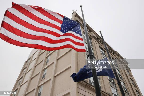 The United States and U.S. Capitol Police flag continue to fly at half-staff in front of the law enforcement organization's headquarters to honor...