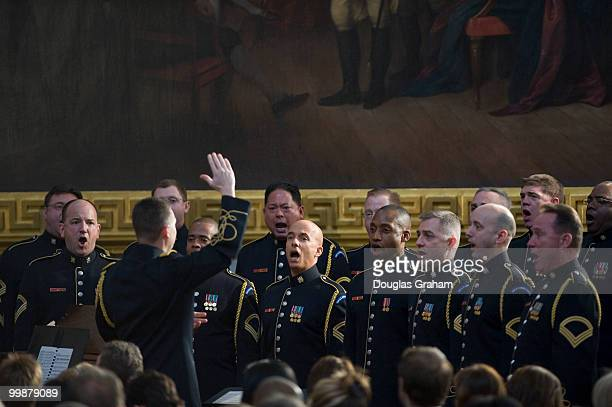 The United States Army Chorus singing the 'Battle Hymn of the Republic' during the tribute in celebration of the Bicentennial of Abraham Lincoln's...