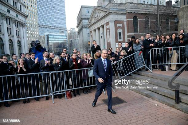 The United States Attorney for the Southern District of New York Preet Bharara leaves his office for the last time to the applause of his colleagues...