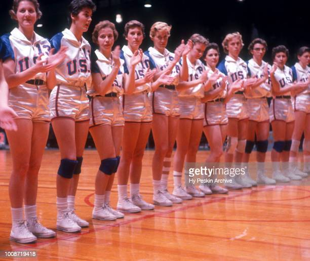 The United States basketball team lineup during introductions for an International game against the USSR circa 1959 at the Madison Square Garden in...