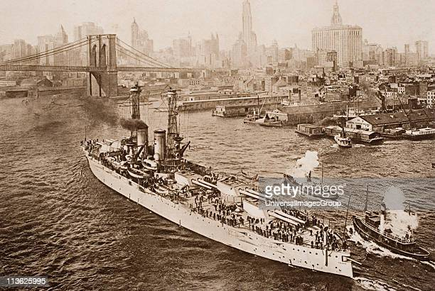 The United States battleship, Texas, setting out from New York Harbour, from the book The Outline of History by H.G.Wells Volume 2, published 1920.