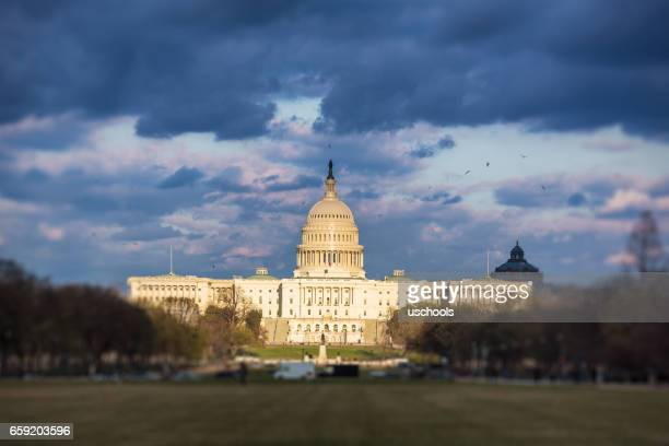 The United States Capitol with dramatic sky