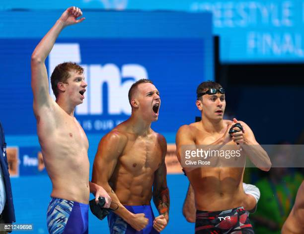 The United States celebrate winning Gold in the Men's 4x100m Freestyle Final on day ten of the Budapest 2017 FINA World Championships on July 23 2017...