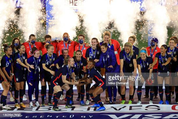 The United States celebrate winning the SheBelieves Cup at Exploria Stadium on February 24, 2021 in Orlando, Florida.