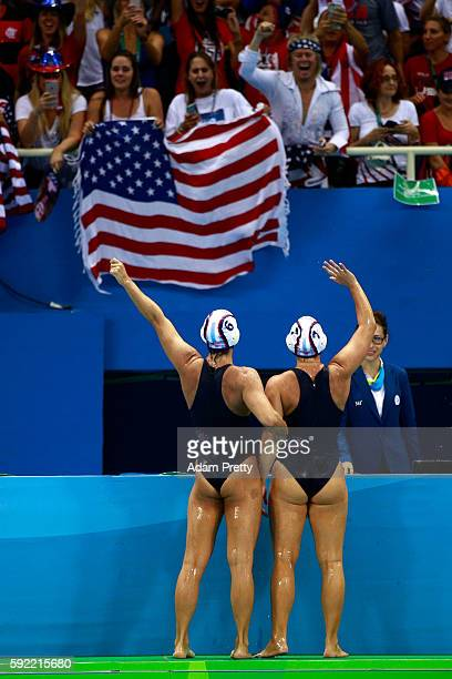 The United States celebrate winning the Women's Water Polo Gold Medal match between the United States and Italy on Day 14 of the Rio 2016 Olympic...
