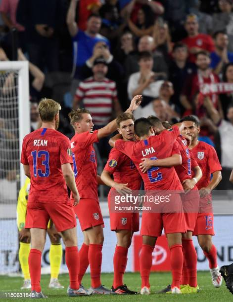 The United States celebrates a goal by Tyler Boyd against the Guyana second half of the CONCACAF Gold Cup match at Allianz Field on June 18 2019 in...