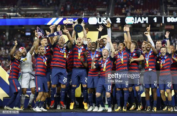 The United States celebrates after beating Jamaica in the 2017 CONCACAF Gold Cup Final at Levi's Stadium on July 26 2017 in Santa Clara California