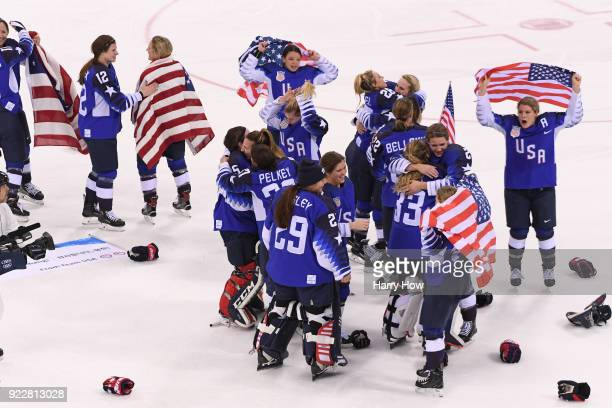 The United States celebrates after defeating Canada 32 in a shootout to win the Women's Gold Medal Game on day thirteen of the PyeongChang 2018...