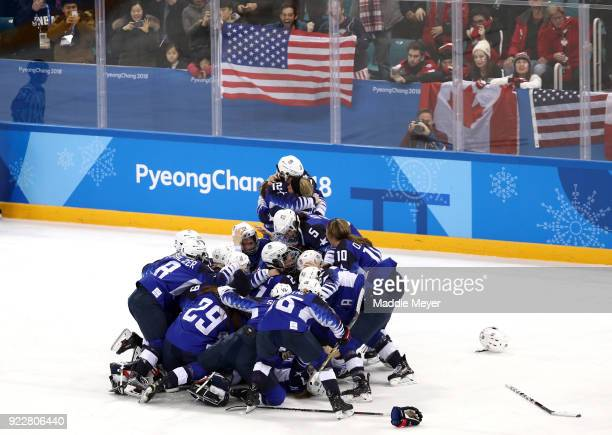 The United States celebrates after defeating Canada in a shootout to win the Women's Gold Medal Game on day thirteen of the PyeongChang 2018 Winter...