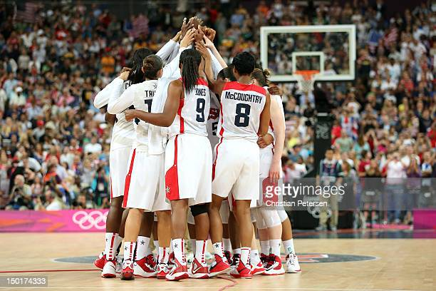 The United States celebrates after defeating France 8650 to win the gold medal in the Women's Basketball gold medal game on Day 15 of the London 2012...