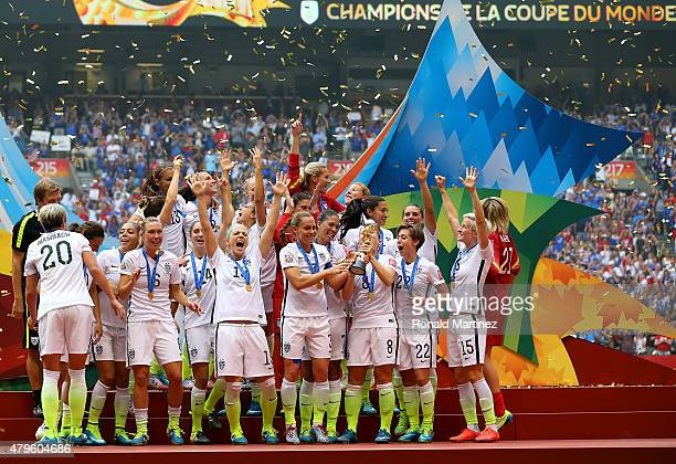 The United States celebrates after winning the FIFA Women's World Cup Canada 2015 5-2 against Japan at BC Place Stadium on July 5, 2015 in Vancouver,...
