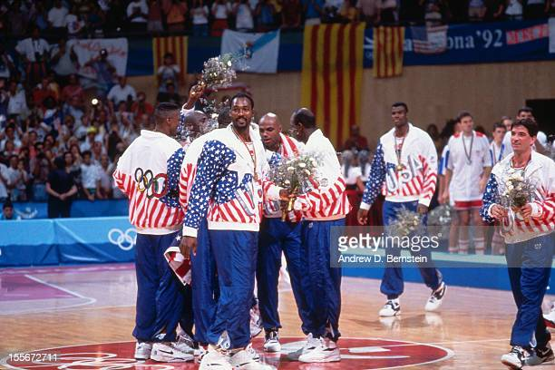 The United States celebrates following the Gold Medal Basketball game between the United States and Croatia at the 1992 Olympics on August 8 1992 at...