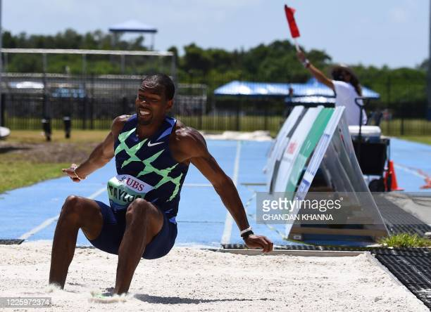 The United States' Christian Taylor competes in the men's triple jump during the Inspiration Games exhibition event being held remotely across...