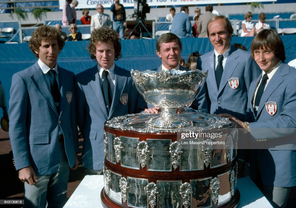 The United States Davis Cup team, left to right, Brian Gottfried, John McEnroe, Tony Trabert, Stan Smith and Bob Lutz, prior to their Finals match against Great Britain in Rancho Mirage, California on 8th December 1978. The USA won four matches to one.