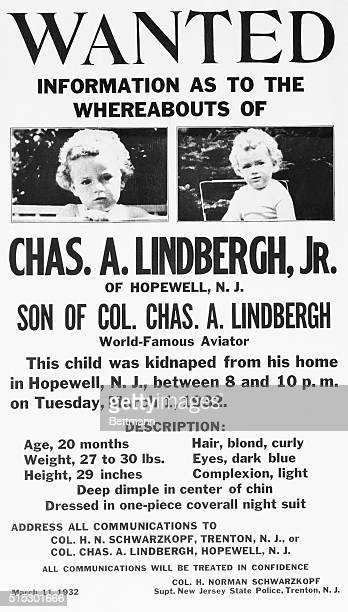 The United States Department of Justice entered the Lindbergh baby kidnapping case by distributing to the police chiefs of more than 1400 cities...