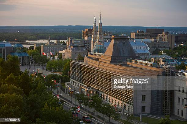 The United States Embassy building is viewed from the Fairmont Chateau Laurier Hotel on June 30 2012 in Ottawa Canada Ottawa the captial of Canada is...