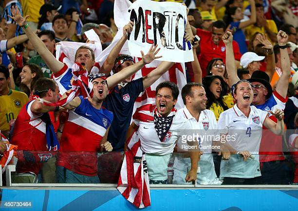 The United States fans celebrate during the 2014 FIFA World Cup Brazil Group G match between Ghana and the United States at Estadio das Dunas on June...