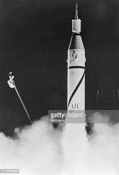 The United State's first satellite Explorer 1 is being launched into orbit by a Juno 1 rocket