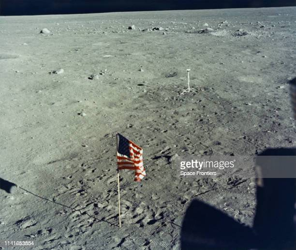 The United States flag is planted on the surface of the Moon by the astronauts of NASA's Apollo 11 lunar landing mission as seen from inside the...