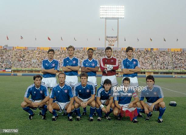 The United States football team pose for a team group shot before their match with Argentina inside the Daegu Civic Stadium in Daegu South Korea...