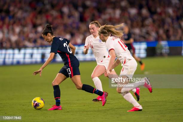 The United States forward Christen Press shoots and scores a goal during the Women's SheBelieves Cup soccer match between the USA and England on...