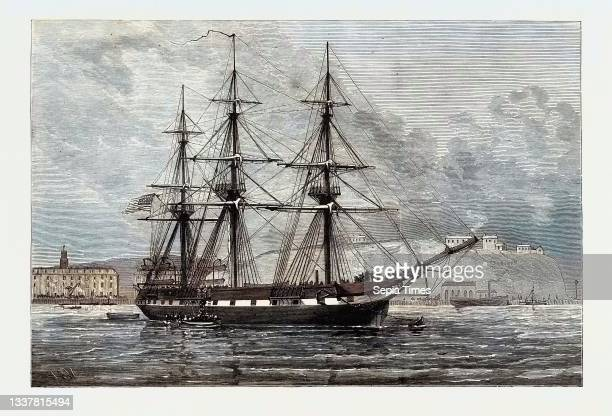 The United States Frigate Constellation with Relief Stores for Irish Distress Off Haulbowline in Cork Harbour 1880.