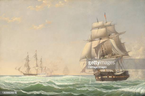 "The United States Frigate ""President"" Engaging the British Squadron 1850. Artist Fitz Hugh Lane. ."